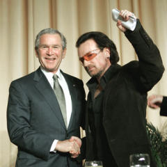 Bono posing with a nice retarded gentleman from Texas